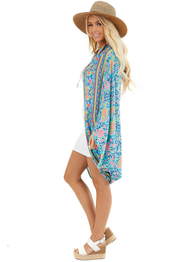 Turquoise and Pink Floral Cocoon Kimono side full body