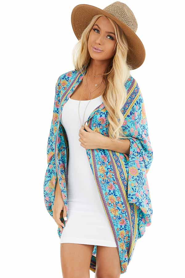 Turquoise and Pink Floral Cocoon Kimono front close up