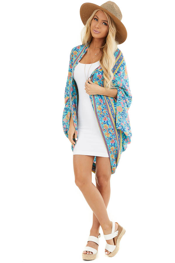 Turquoise and Pink Floral Cocoon Kimono front full body