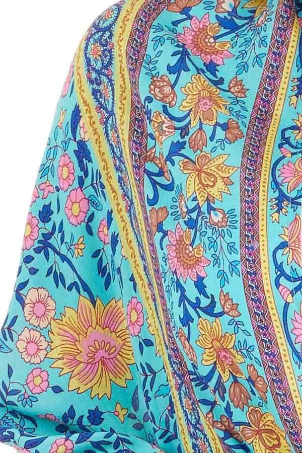 Turquoise and Pink Floral Cocoon Kimono detail