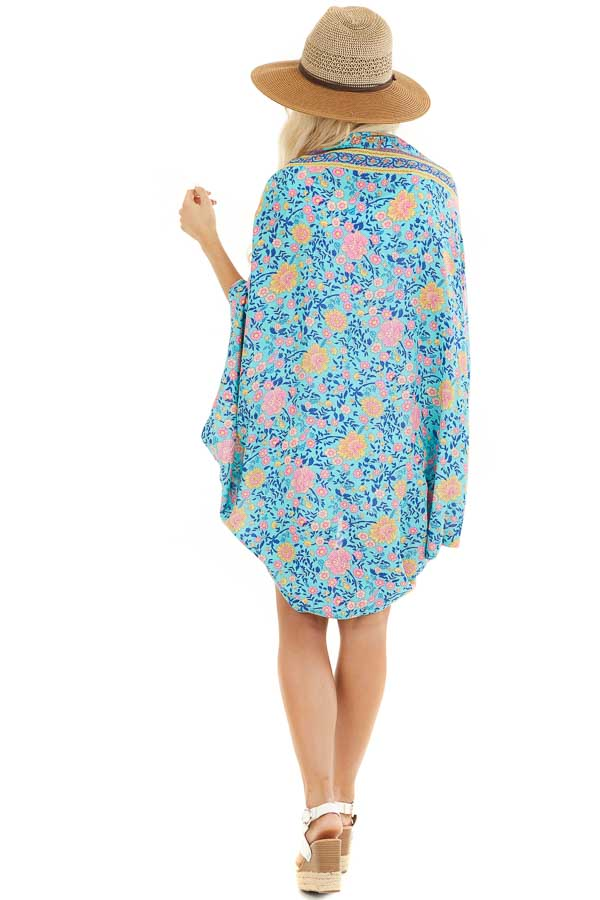 Turquoise and Pink Floral Cocoon Kimono back full body