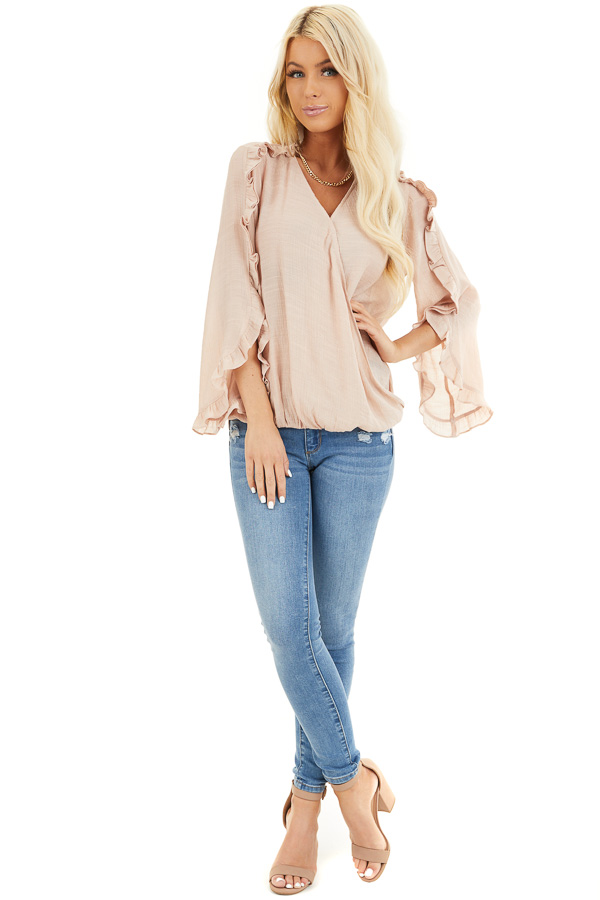 Peach Deep V Neck Blouse with Long Sleeve Ruffle Details front full body