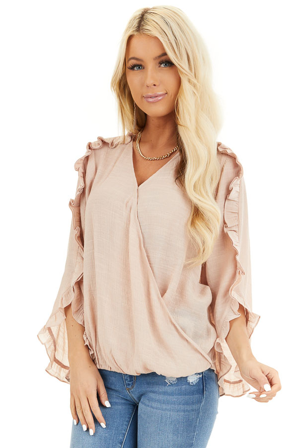 Peach Deep V Neck Blouse with Long Sleeve Ruffle Details front close up