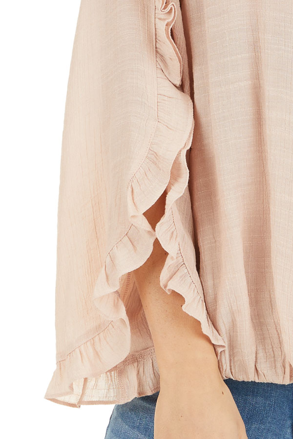 Peach Deep V Neck Blouse with Long Sleeve Ruffle Details detail