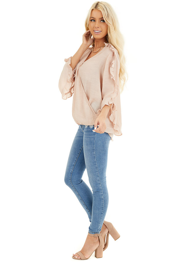 Peach Deep V Neck Blouse with Long Sleeve Ruffle Details side full body
