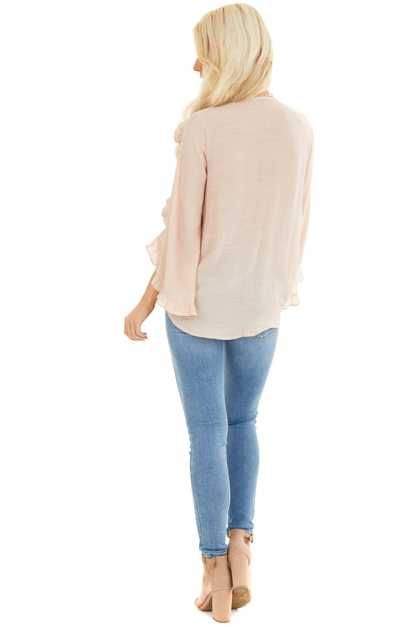 Peach Deep V Neck Blouse with Long Sleeve Ruffle Details back full body