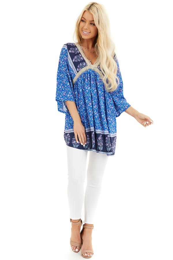 Navy and Royal Blue Floral Print Peasant Style Tunic Top front full body