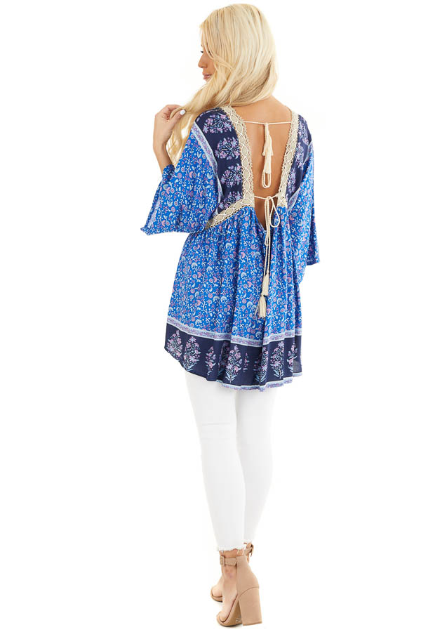 Navy and Royal Blue Floral Print Peasant Style Tunic Top back full body