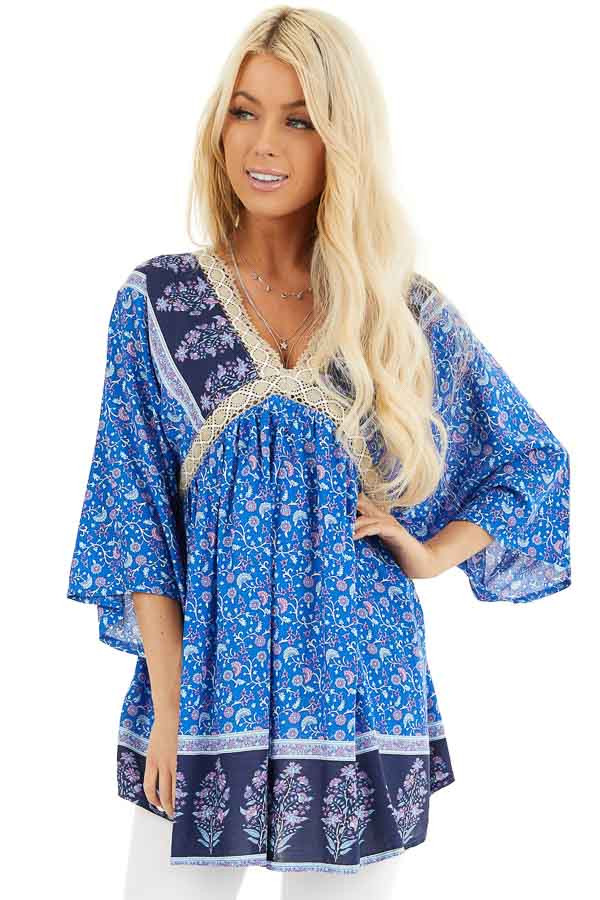 Navy and Royal Blue Floral Print Peasant Style Tunic Top front close up