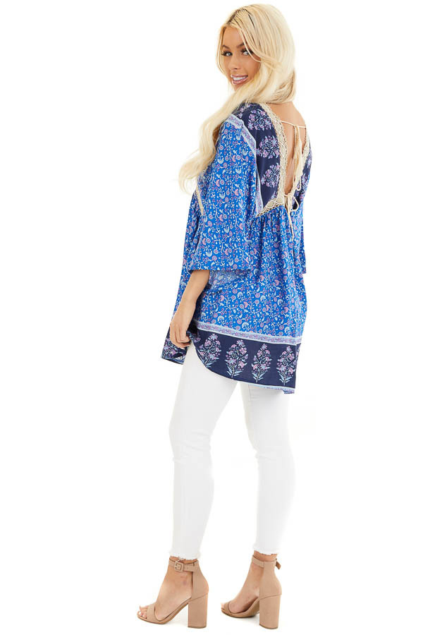 Navy and Royal Blue Floral Print Peasant Style Tunic Top side full body