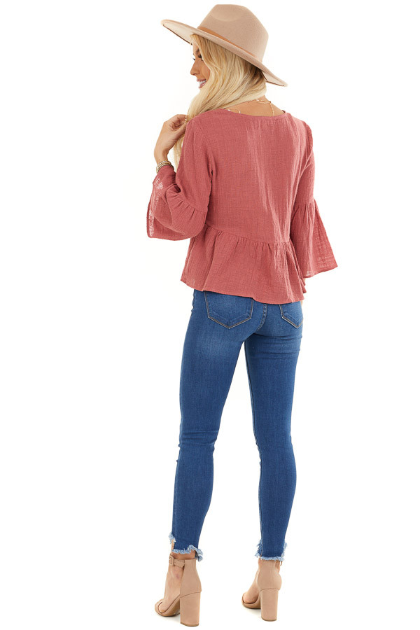 Rich Rose 3/4 Sleeve Babydoll Top with Button Detail back full body