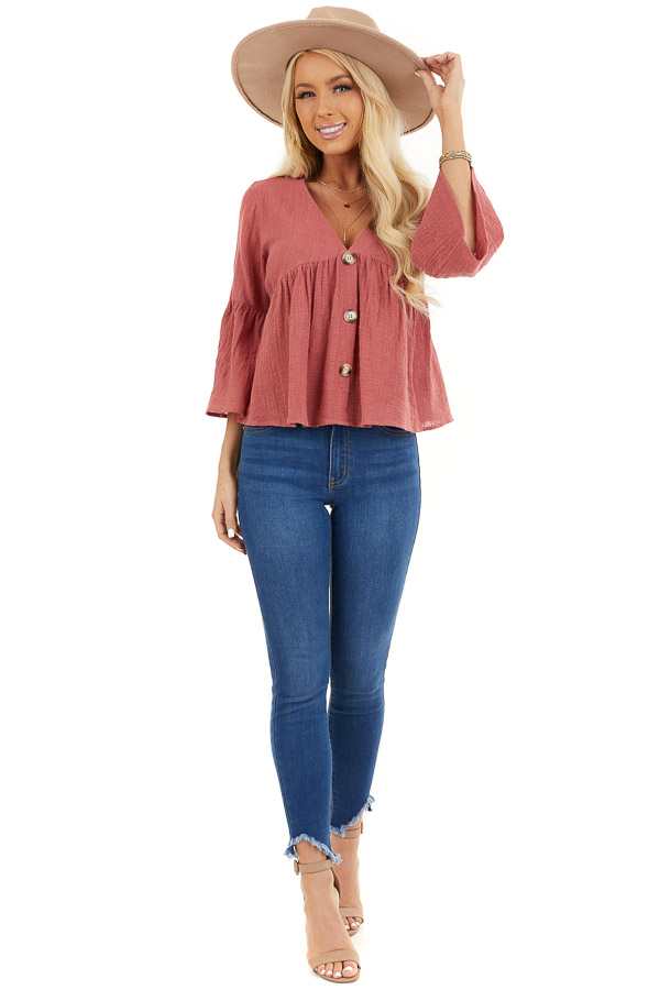 Rich Rose 3/4 Sleeve Babydoll Top with Button Detail front full body