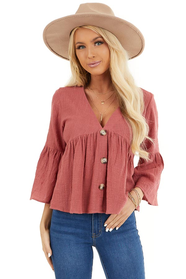Rich Rose 3/4 Sleeve Babydoll Top with Button Detail front close up