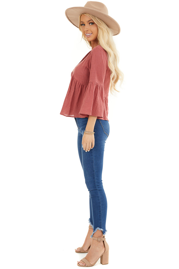 Rich Rose 3/4 Sleeve Babydoll Top with Button Detail side full body