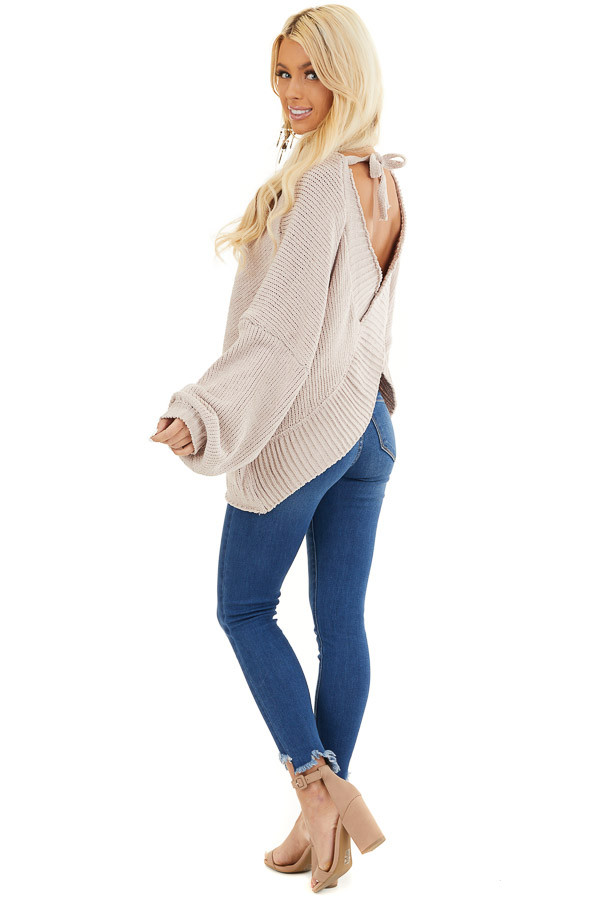 Beige Chenille Sweater Top with Back Criss Cross Detail side full body