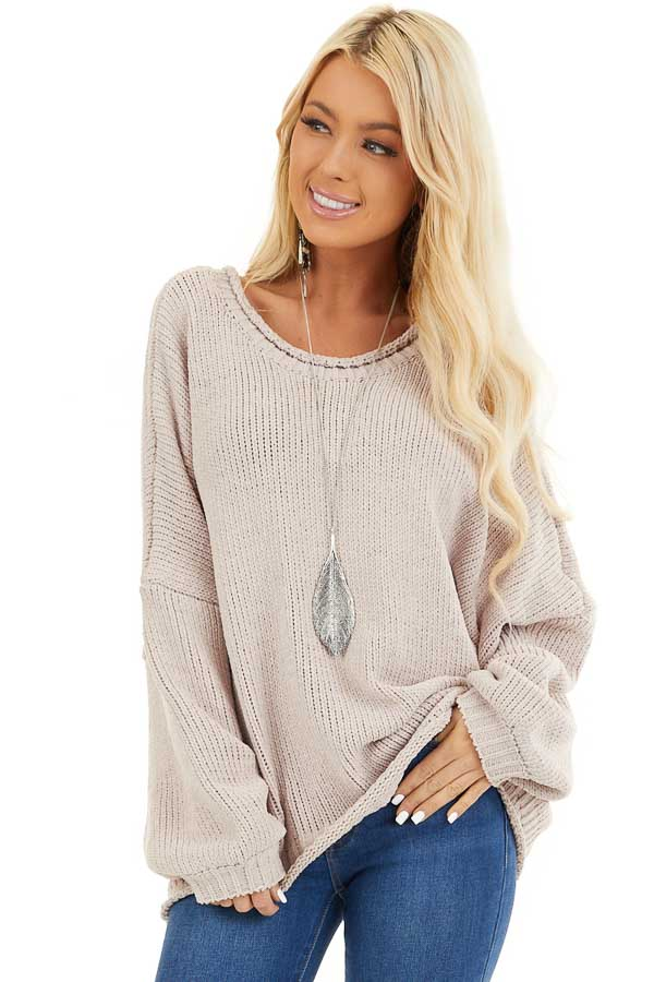 Beige Chenille Sweater Top with Back Criss Cross Detail front close up