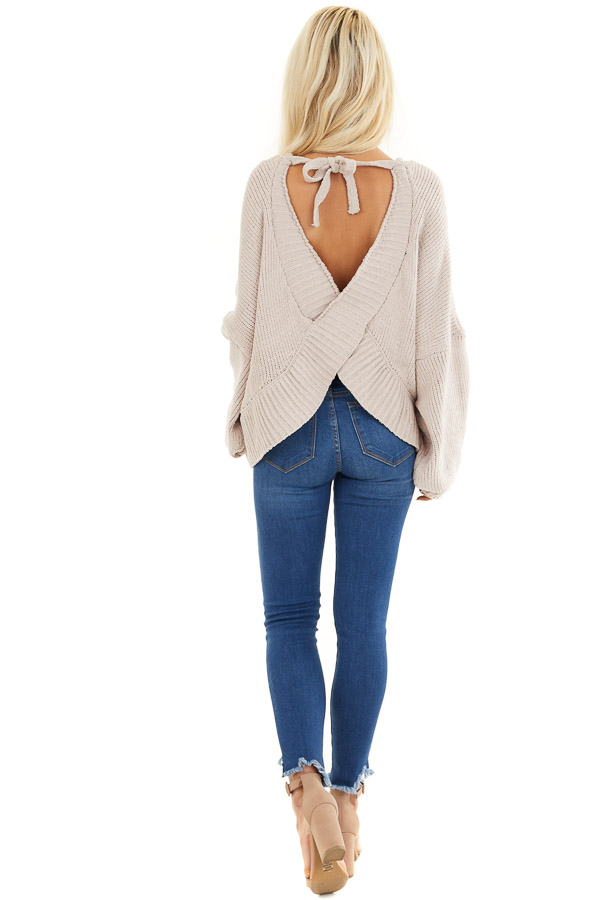 Beige Chenille Sweater Top with Back Criss Cross Detail back full body