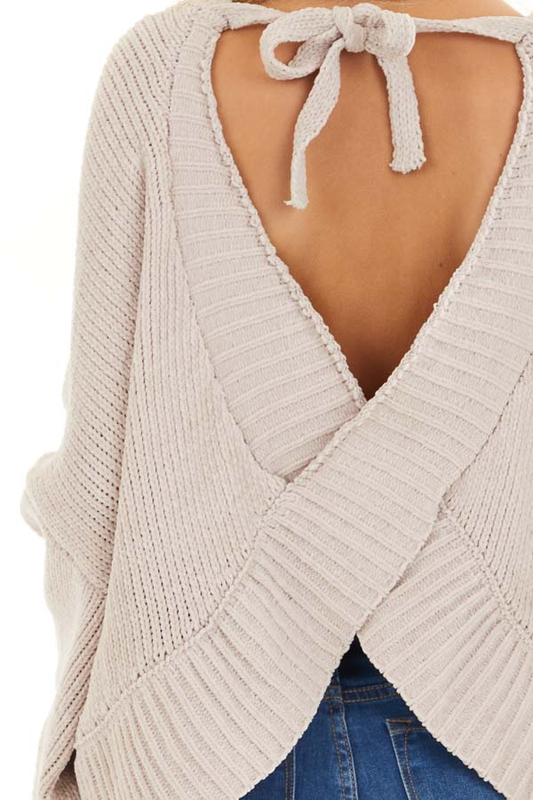 Beige Chenille Sweater Top with Back Criss Cross Detail detail