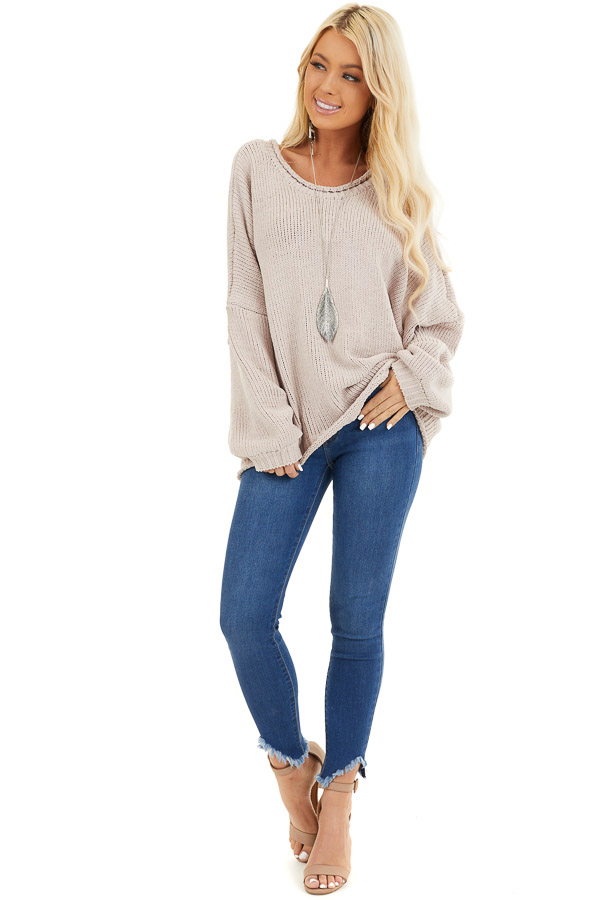 Beige Chenille Sweater Top with Back Criss Cross Detail front full body