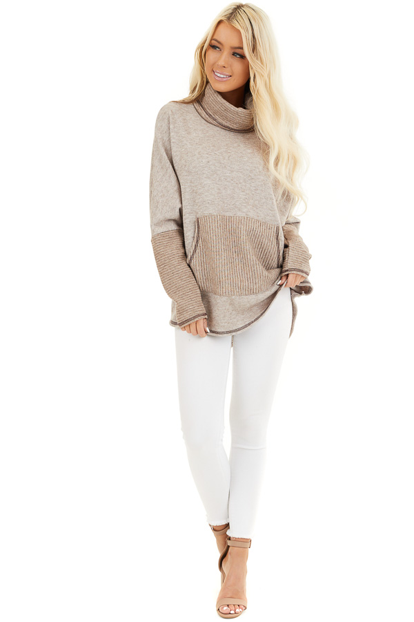 Oatmeal and Taupe Pullover Top with Cowl Neck front full body
