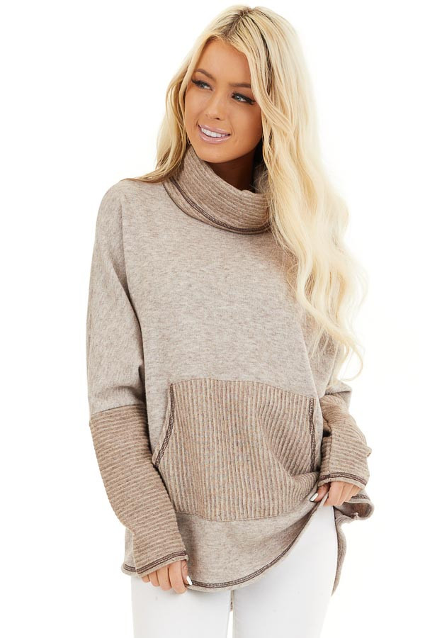 Oatmeal and Taupe Pullover Top with Cowl Neck front close up