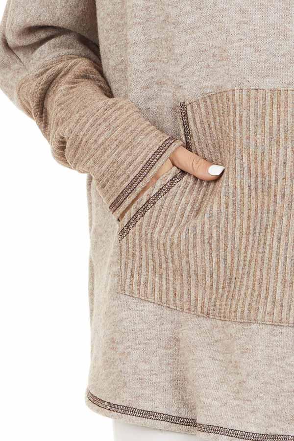 Oatmeal and Taupe Pullover Top with Cowl Neck detail