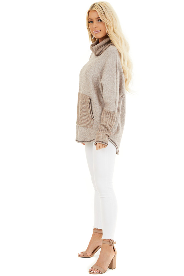 Oatmeal and Taupe Pullover Top with Cowl Neck side full body