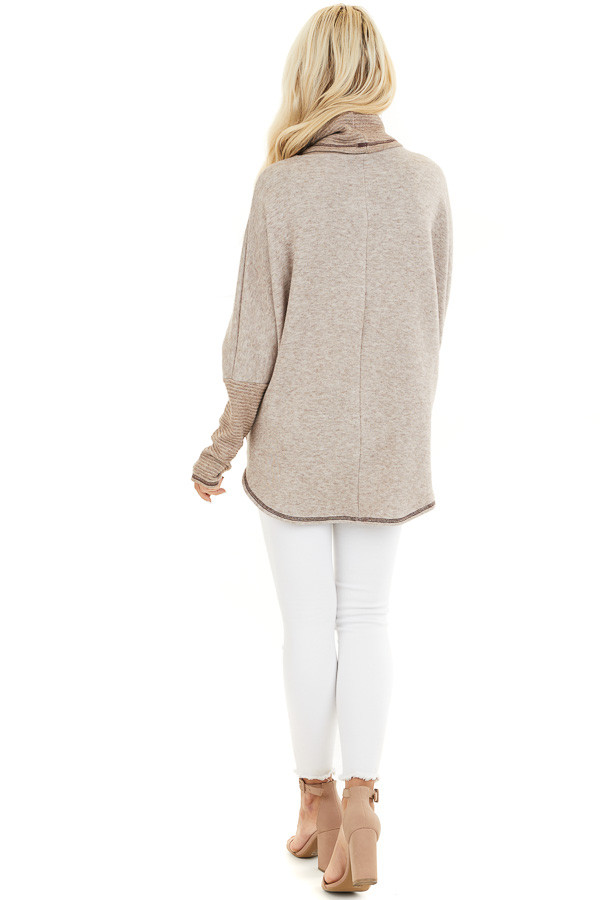 Oatmeal and Taupe Pullover Top with Cowl Neck back full body