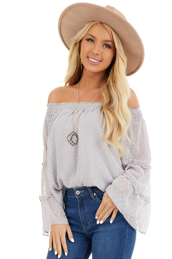 Dove Grey Off Shoulder Swiss Dot Top with Long Sleeves front close up