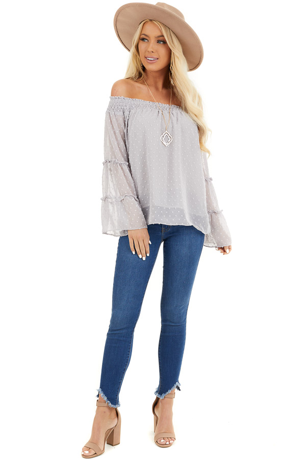 Dove Grey Off Shoulder Swiss Dot Top with Long Sleeves front full body