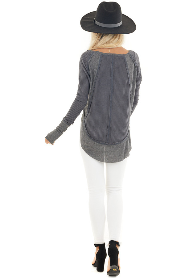 Charcoal Knit Top with Long Sleeves and Ribbed Contrast back full body
