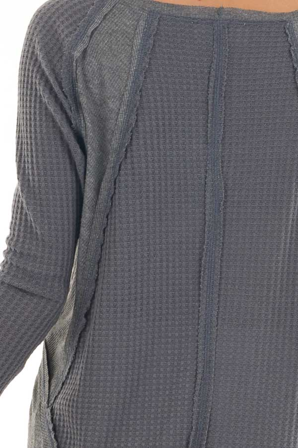 Charcoal Knit Top with Long Sleeves and Ribbed Contrast detail
