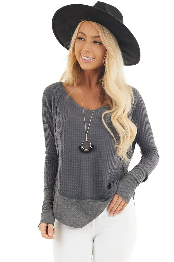Charcoal Knit Top with Long Sleeves and Ribbed Contrast front close up