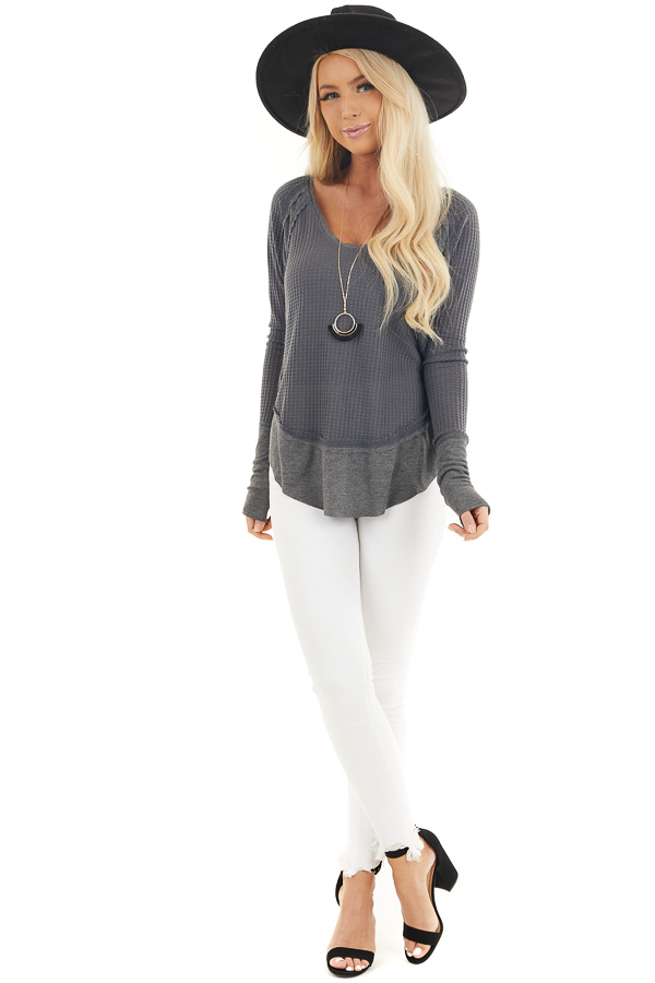Charcoal Knit Top with Long Sleeves and Ribbed Contrast front full body