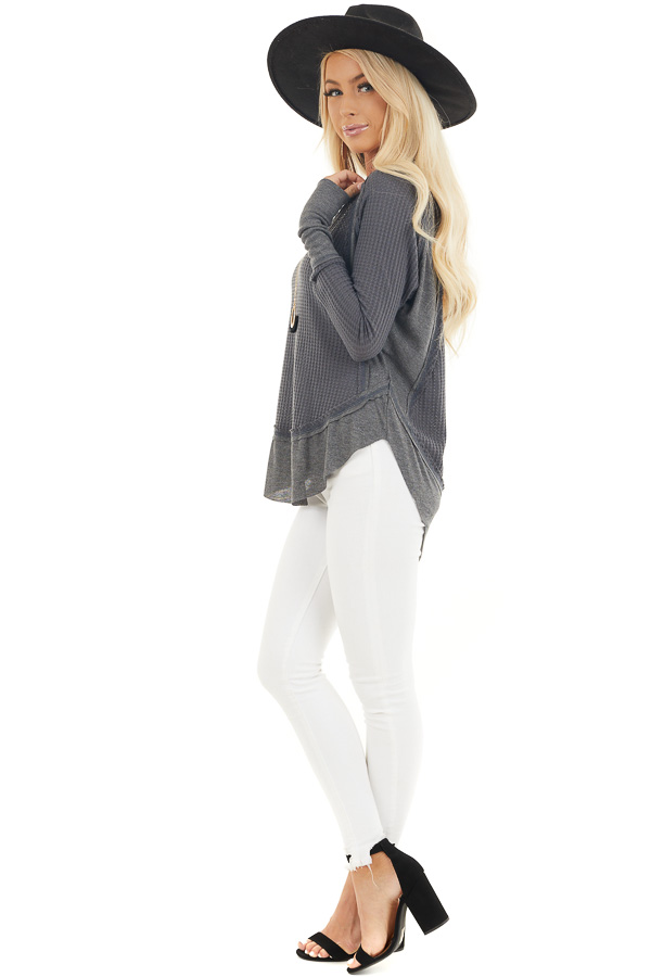 Charcoal Knit Top with Long Sleeves and Ribbed Contrast side full body