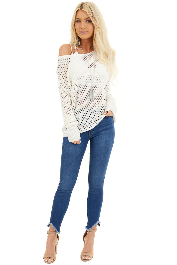 Ivory Sheer Knit Sweater Top with Ribbed Cuffs front full body
