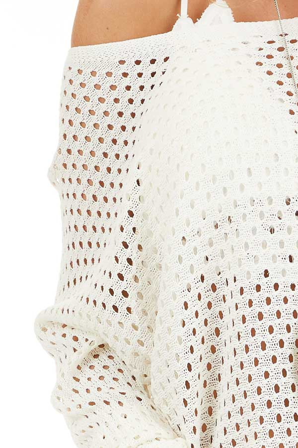 Ivory Sheer Knit Sweater Top with Ribbed Cuffs detail