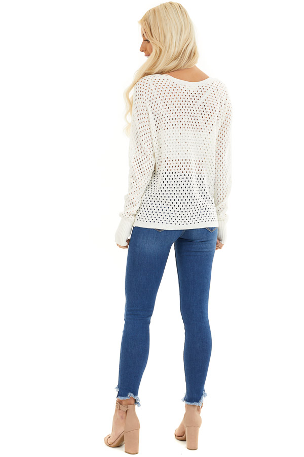 Ivory Sheer Knit Sweater Top with Ribbed Cuffs back full body