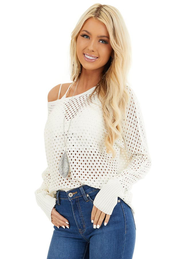 Ivory Sheer Knit Sweater Top with Ribbed Cuffs front close up
