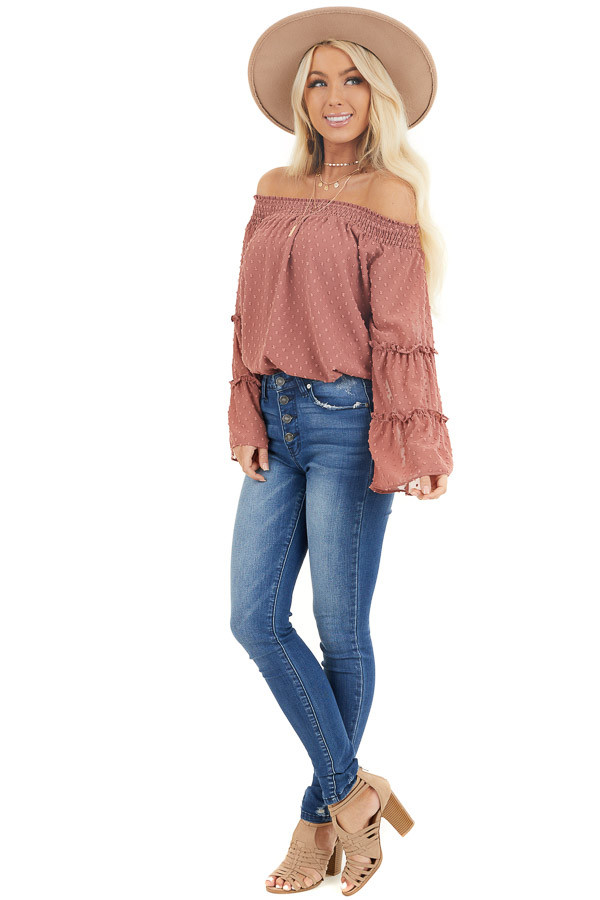 Light Marsala Off Shoulder Swiss Dot Top with Long Sleeves front full body