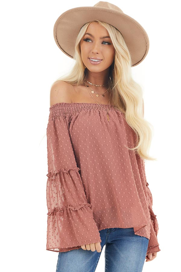 Light Marsala Off Shoulder Swiss Dot Top with Long Sleeves front close up