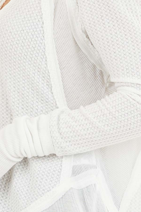 Ivory Knit Top with Long Sleeves and Ribbed Contrast detail