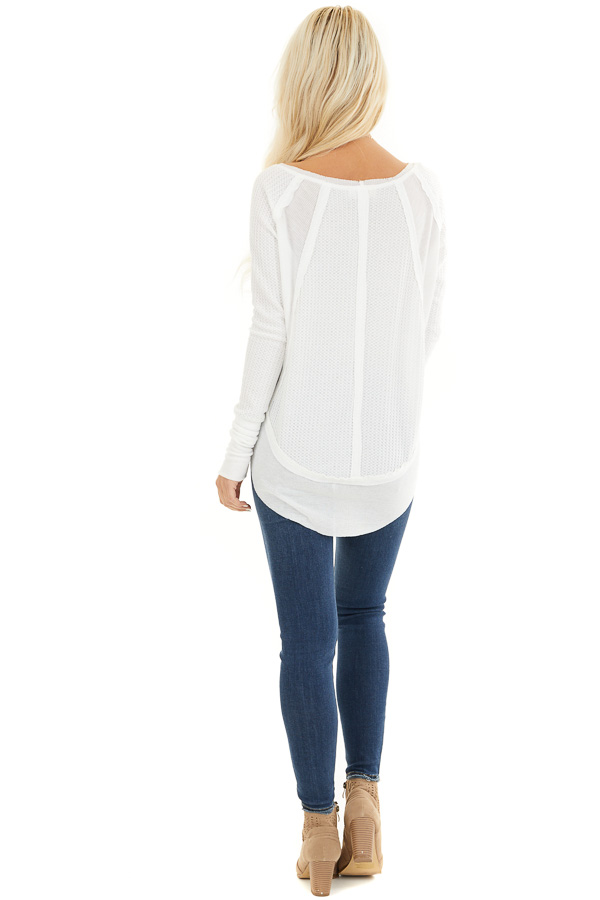 Ivory Knit Top with Long Sleeves and Ribbed Contrast back full body