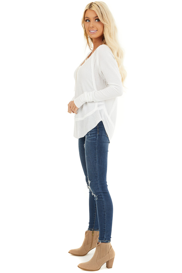 Ivory Knit Top with Long Sleeves and Ribbed Contrast side full body