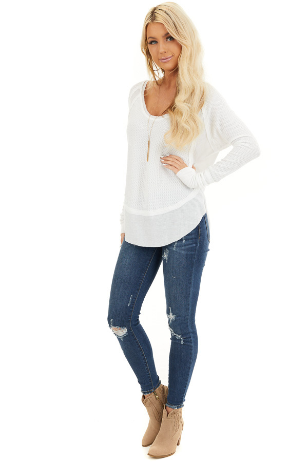 Ivory Knit Top with Long Sleeves and Ribbed Contrast front full body