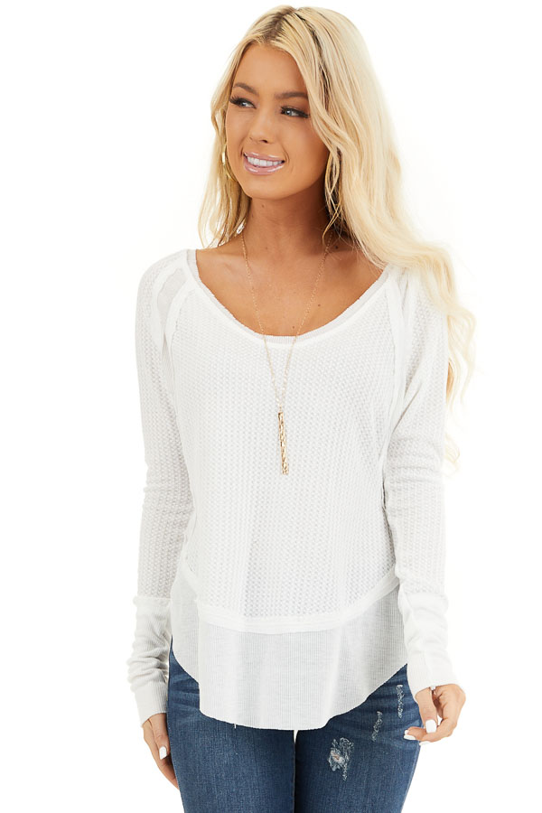 Ivory Knit Top with Long Sleeves and Ribbed Contrast front close up
