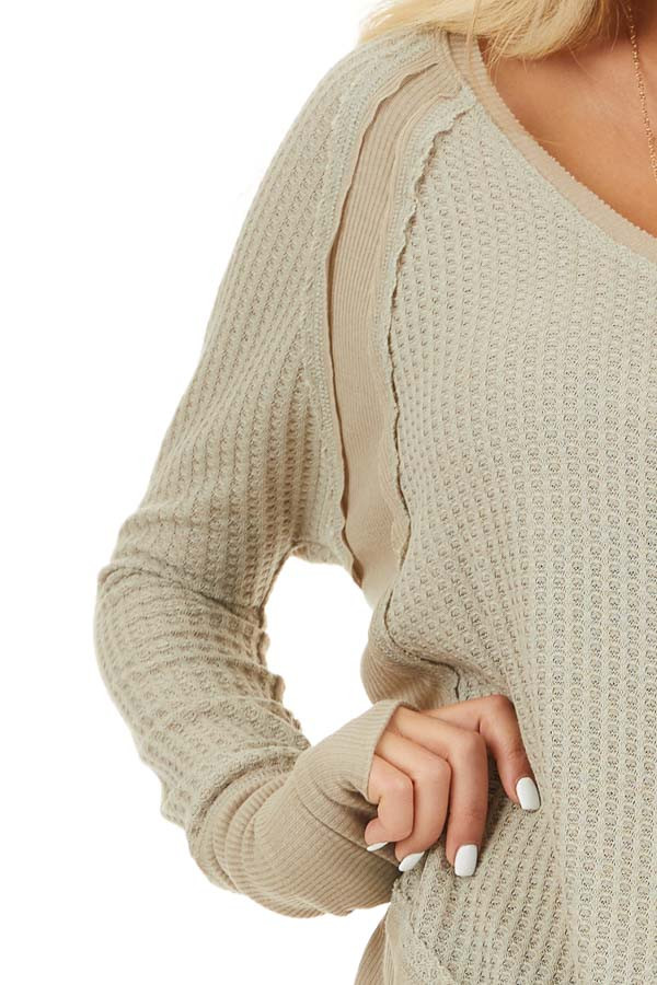 Khaki Knit Top with Long Sleeves and Ribbed Contrast detail