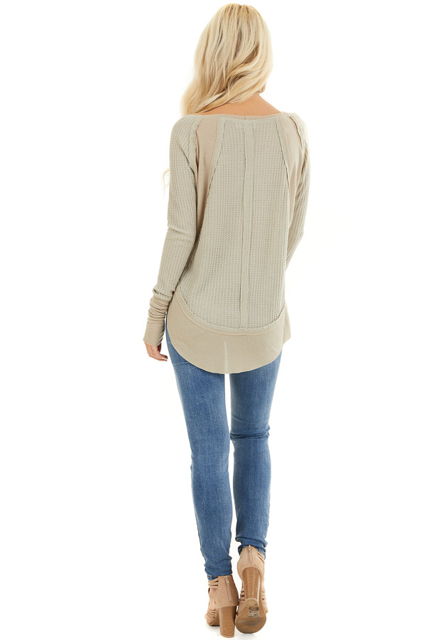 Khaki Knit Top with Long Sleeves and Ribbed Contrast back full body