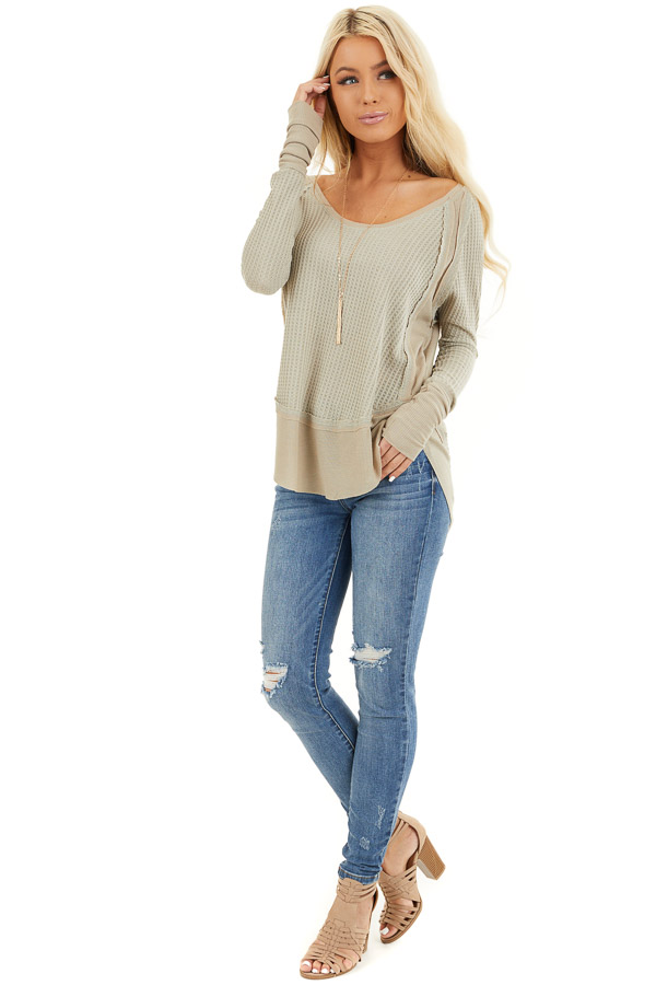 Khaki Knit Top with Long Sleeves and Ribbed Contrast front full body