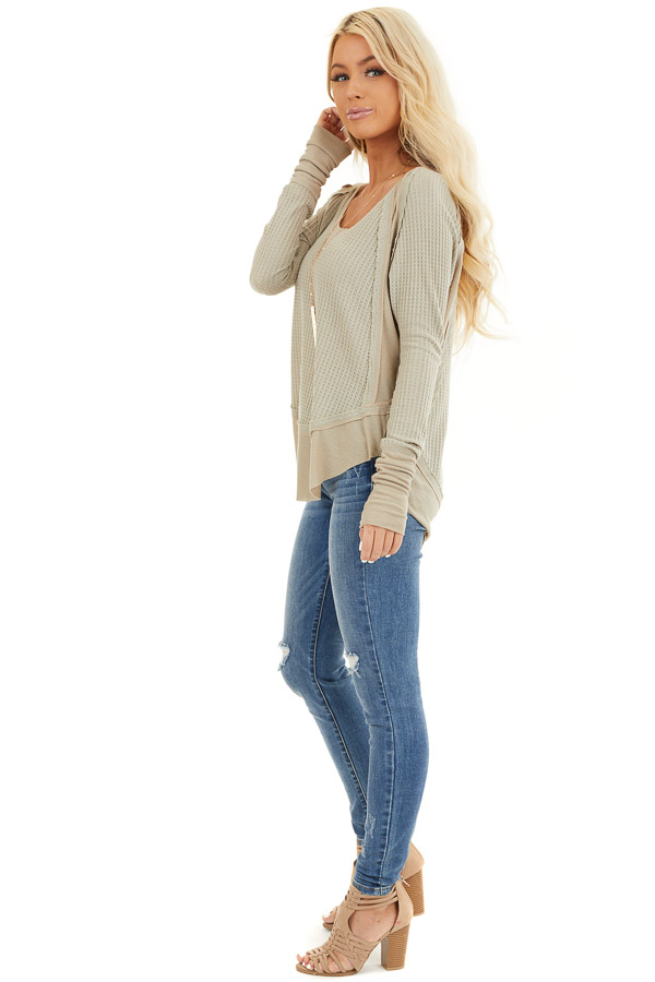 Khaki Knit Top with Long Sleeves and Ribbed Contrast side full body